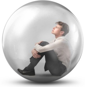 boy in a egg or bubble